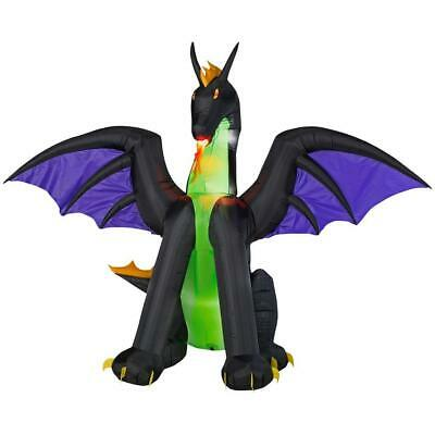 6 ft. Inflatable Animated Lighted Dragon Halloween Decoration with Flaming Mouth