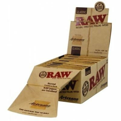 Raw Rolling Paper- Artesano 1 1/4 Tray + Papers + Tips Ful Box of 15