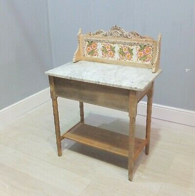 Lovely Antique Tileback French Pine Wash Stand With Marble Top (237)