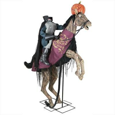 91 in. Animated Headless Horseman Prop Holding Jack o Lantern w/ Lighted, Sound
