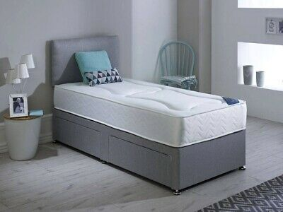 Grey Chenile Divan Bed + Memory Foam Mattress + Free Matching Headboard