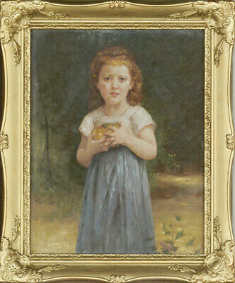 After W. Bouguereau - Framed 20th Century Oil, Little Girl Holding Apples