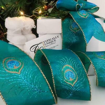 New Peacock Feather Christmas Ribbon Wire Edged Decoration Gift Wrapping - Plume