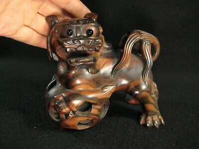 Vintage Chinese Hand Carved Persimmon Wood Foo Dog Sculpture W/ Inset Glass Eyes