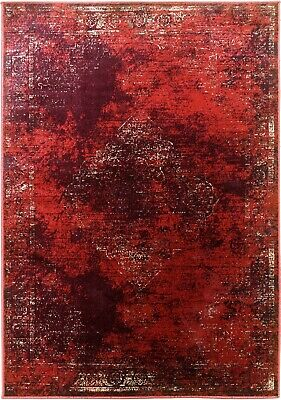 Burgundy Rug Classic Vintage Design Traditional Faded Distressed Ruby Red