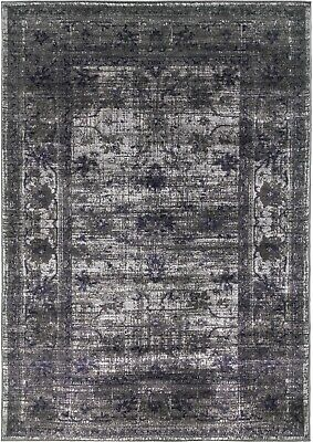 Grey Rug Classic Vintage Design Timeless Traditional Faded Distressed Silver
