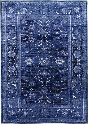 Blue Rug Classic Vintage Design Timeless Traditional Faded Distressed Navy