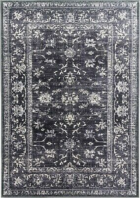Charcoal Rug Classic Vintage Design Traditional Faded Distressed Grey Black