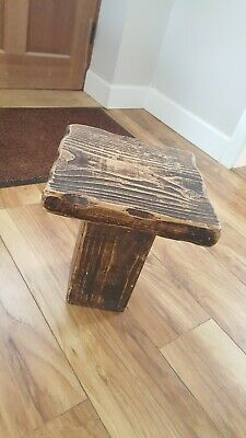 Side table, Handmade, Chunky rustic solid wood jacobean finish