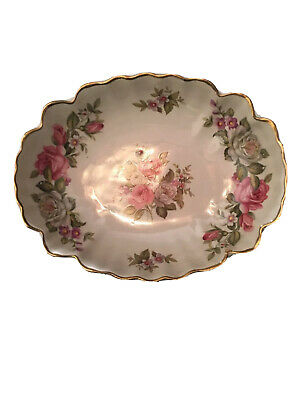 """Gorgeous Vintage Old Foley """"Harmony Rose 7"""" by 5.5"""" Bon Dish. Made In England."""
