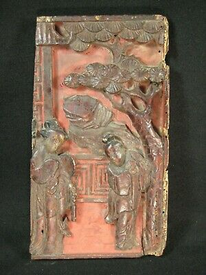 Antique Chinese 150 Yr Old Hand Carved Wooden Carving Man & Woman Courting