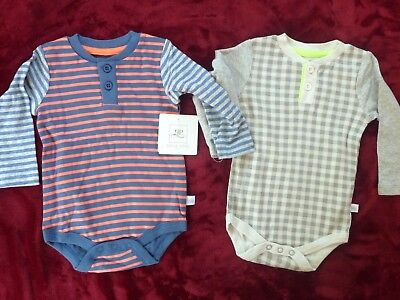 Rosie Pope Baby Boys 2 Pack Long Sleeve Bodysuits, Stripes/Plaid, 3-6 Months NWD