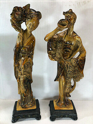 "Vtg Carved Resin Statues Figure Figurine East Asian Oriental 18"" Tall Set Couple"