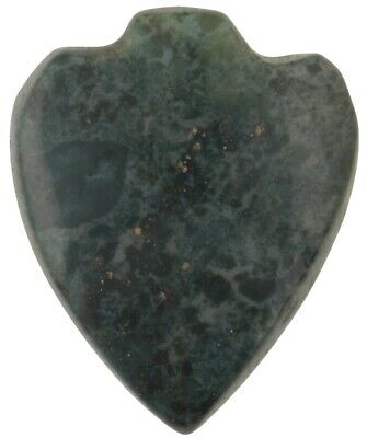 Old African trade bead green Agate stone bead pendant heart Ghana trade