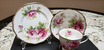 """Vintage Royal Albert """"American Beauty"""" Footed Cup And Saucer Trio #2"""