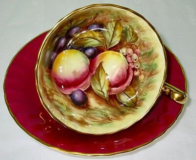 Aynsley Fancy Orchard Fruit Hand Painted Burgundy Red Cup & Saucer Signed