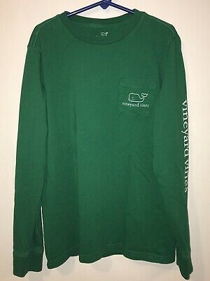 Vineyard Vines T-Shirt BOYS Small 8-10 Green Whale Pocket Long Sleeve Vintage