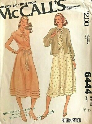1970's VTG McCall's Misses' Dress and Jacket Pattern 6444 Size 12 UNCUT