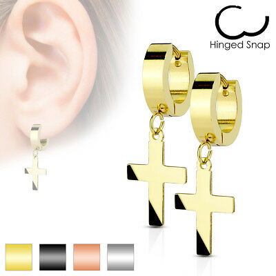 Studs, Earring Stainless Steel Gold, Silver, Black, Rose Gold with cross Pendant