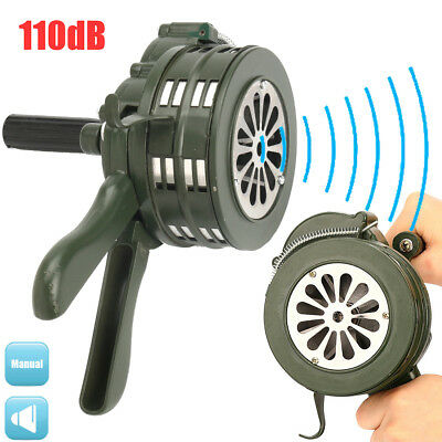 "9"" Aluminium Handheld Loud Hand Crank Manual Operated Air Raid Alarm Portable"