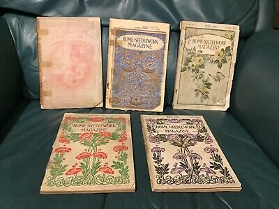 5 Victorian Antique Home Needlework Magazines Patterns Flowers RARE  early1900's