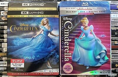 Cinderella Live 4K + Cinderella Animated Bluray + Dvd 4-Discs Mint No Digital