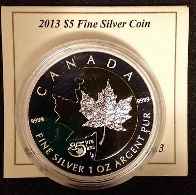 Canada 2013 $5 Pure Silver 25th Anniv of the Maple Leaf 1oz.Gold Plated.$90.J142