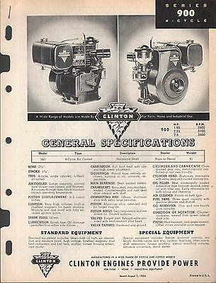 Oct 1954 Clinton Engines 900 4 Cycle Specifications & Parts Manual  (011)