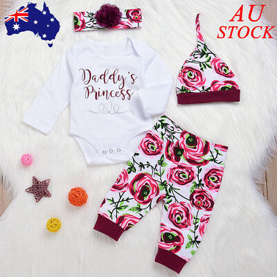Baby Girls Floral Outfit Set Top Pant Headband Hat Newborn Infant Clothes Romper