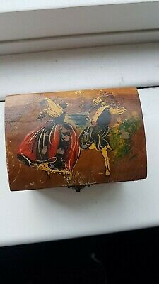 Vintage wooden musical jewellery box
