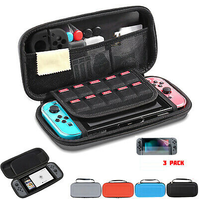 Carrying Case Hard Game EVA Shell + 3x HD Screen Protector For Nintendo Switch