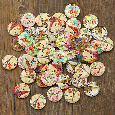 50 Pcs DIY Sewing Fashion Scrapbooking Wooden Buttons 2 Holes Eiffel Tower