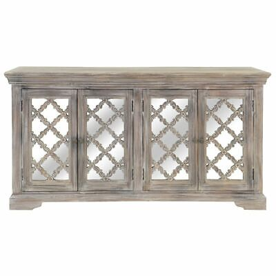 French Arched Whitewash Mirror Door Sideboard