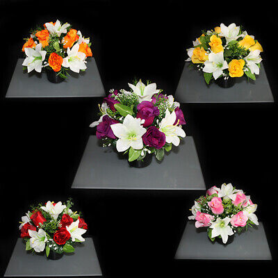 Grave Artificial/silk flower pot arrangement in memorial Crem Pot Grave funeral