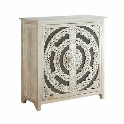 French Arched Floral Carved Glass Door Sideboard