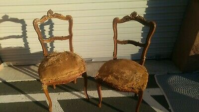 (2) Deconstructed Petite Vtg Antique French Louis XV Hand Carved Walnut Chairs