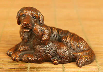 Chinese old boxwood hand carved Dog mother son statue netsuke decoration gift