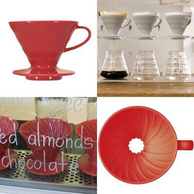 NEW VDC 02R 1 Piece Ceramic Coffee Dripper Red V60 Size 02 Red Coffee D UK STOCK
