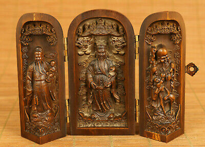 Chinese old boxwood hand carved god of wealth longevity statue box decoration