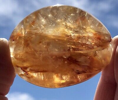 Yellow Hematoid Quartz Palm Stone From Madagascar. Crystal 111g