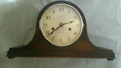Vintage Wooden Napoleon Chiming Mantel Clock 1940s Working. + Key.