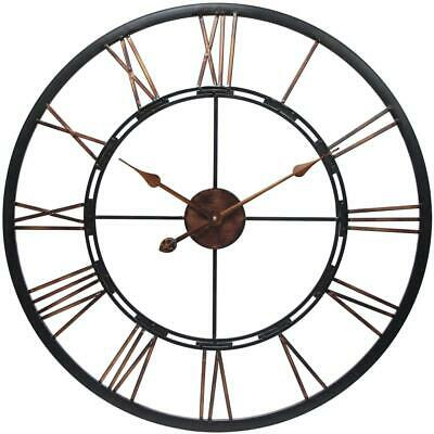 28 in. Large Wall Clock Round, Welded Steel Frame, Hand Painted, Quartz Movement