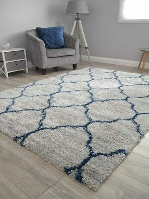Grey And Blue Small Extra Large Soft Thick Pattern Shaggy Floor Mats Rugs Cheap