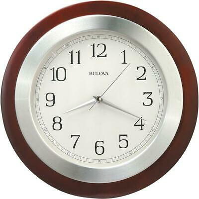 14 in. Wall Clock Round, Convex Glass Lens, Wood Case and Brushed Aluminum Bezel