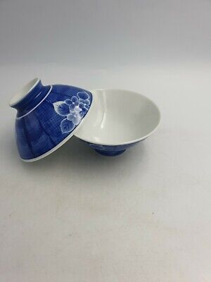 Japanese Fine Porcelain Footed Rice Soup Bowls Blue White Floral Blossom Pair