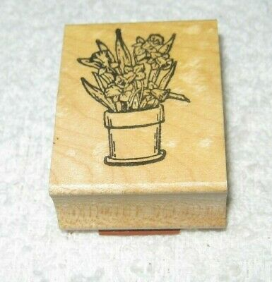 Spring Pansy Flower Pots Wood Mounted Rubber Stamp NORTHWOODS O8492 New