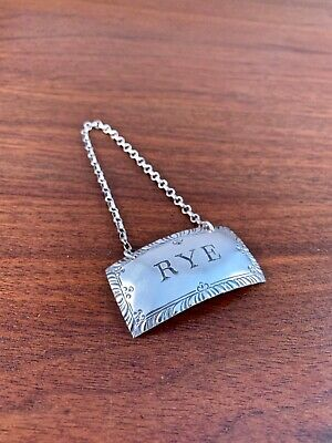 "Stieff Williamsburg Sterling Silver ""rye"" Bottle Tag: No Monogram"