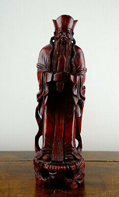 Antique Chinese Fujian Hardwood Carved Figure of Immortal God Fu Wood Statue