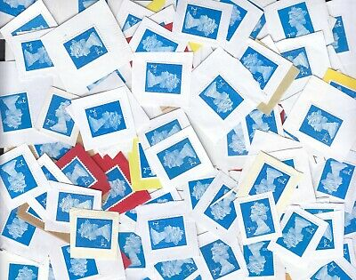 100 unfranked 2nd class blue head securitystamps(fv 61 GBP) on paper ,great !!!