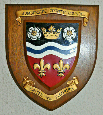 Humberside County Council plaque shield crest coat of arms